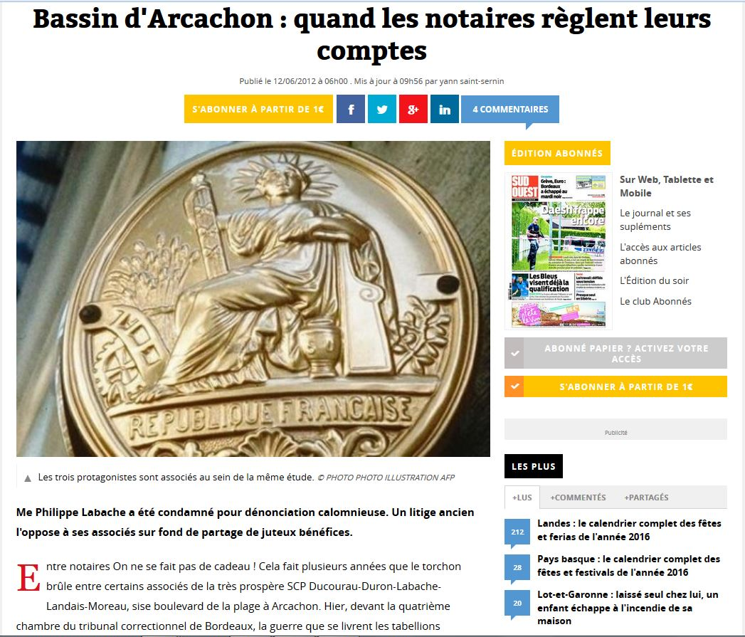 Article presse DUCOURAU condamnation