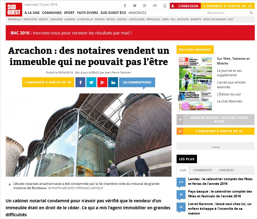 Article presse SCP DUCOURAU condamnation 100 000 euros